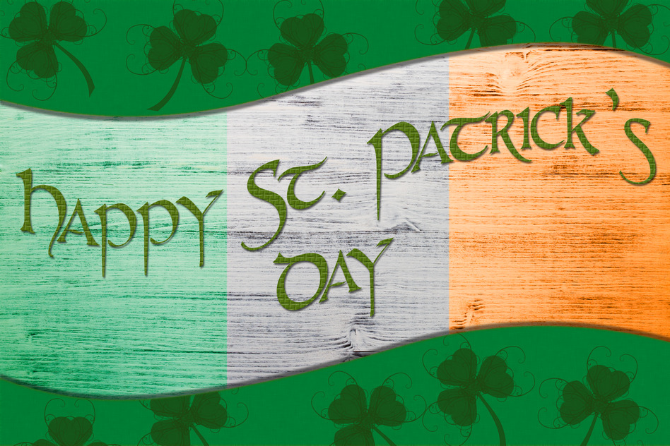Green St. Patrick's Day greeting card with clover, border and Text